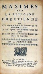 Maximes Sur La Religion Chretienne...
