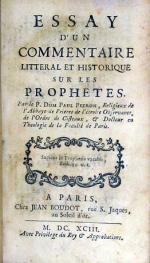 Essay D'Un Commentaire Litteral Et Historique Sur Les Prophetes
