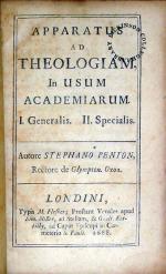 Apparatus Ad Theologiam, In Usum Academiarum. Generalis (I)