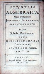 Synopsis Algebraica, Opus Posthumum