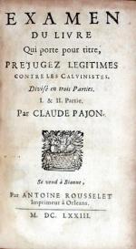 Examen Du Livre Qui porte pour titre, Préjugez Legitimes Contre...