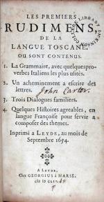 Les Premiers Rudimens, De La Langue Toscane