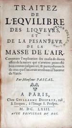 Traitez De L'Eqvilibre Des Liqvevrs, Et De La Pesantevr...