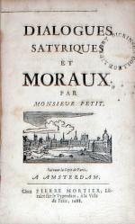 Dialogues Satyriques Et Moraux