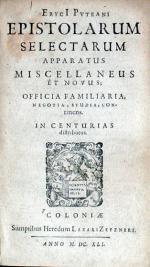 Epistolarum Selectarum Apparatus Miscellaneus Et Novus...