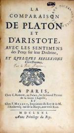 La Comparaison De Platon Et D'Aristote, Avec Les Sentimens des Peres...