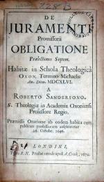De Juramenti Promissorii Obligatione Praelectiones Septem. Habitae...