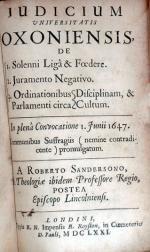 Judicium Universitatis Oxoniensis, De I. Solenni Ligâ & Foedere...