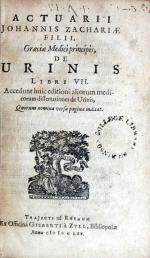 De Urinis Libri VII. Accedunt huic editioni aliorum medicorum dissertationes...