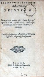 Ad amicos Epistolae. In quibus variae de rebus divinis quaestiones...