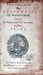 De Episcopis Et Presbyteris Contra D. Petavium Loiolitam Dissertatio Prima