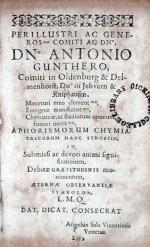 Aphorismorum Chymiatricorum Synopsis Universa Chymia