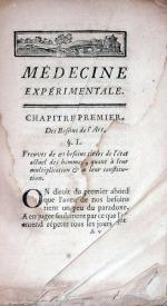 Médecine expérimentale, ou résultat de nouvelles observationes pratiques et anatomiques