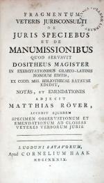 Fragmentum Veteris Jurisconsulti De Juris Speciebus Et De Manumissionibus