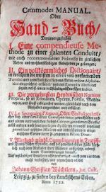 Commodes Manual, Oder Hand-Buch/Darinnen zu finden...