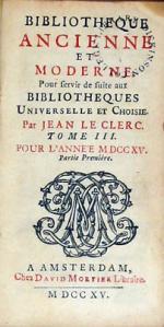 Bibliotheque Ancienne et Moderne. Pour servir de suite aux... (XV)