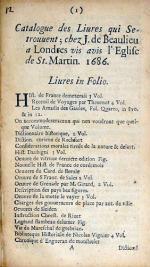 Catalogue des Liures qui Se-trouuent; chez J. de Beaulieu