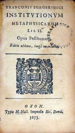 Institvtionvm Metaphysicarum Lib. II. Opus Posthumum. Editio ultima
