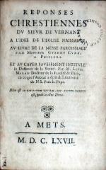 Reponses Chrestiennes.A L'Idee De L'Eglise Naissante, Av Livre...