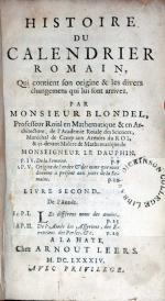 Histoire de Calendrier Romain, Qui contient son origine & les divers...