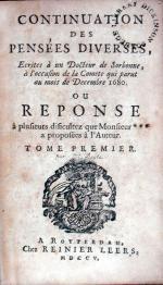 Continuation des Pensées Diverses, Ecrites.à la occasion de le Comete...