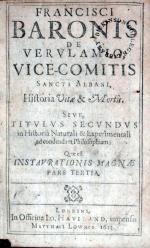 Historia Vitae & Mortis. Sive, Titvlvs Secundvs in Historiâ Naturali...