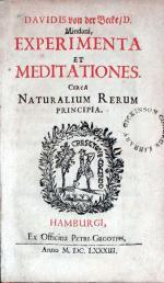 Experimenta et Meditationes. Circa Naturalium Rerum Principia