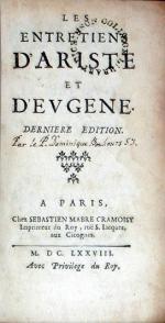Les Entretiens D'Ariste et D'Evgene. Derniere Edition