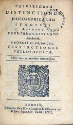 Celebriorum Distinctionum Philosophicarum Synopsis..Accedunt &...