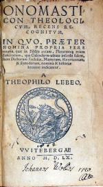 Onomasticon Theologicvm, recens recognitvm