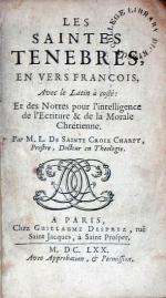 Les Saintes Tenebres, En Vers Francois, Avec le Latin à costé