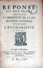 Réponse Avx Devx Traitez Intitvlez La Perpetvité De La Foy De L'Eglise...