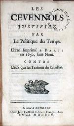 Les Cevennols Justifiez, Par Le Politique du Temps. Livre Imprimé...