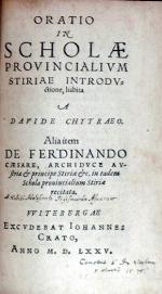 Oratio In Scholae Provincialivm Stiriae Intordvctione