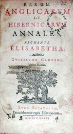 Rerum Anglicarvm et Hibernicarvm Annales, Regnante Elisabetha