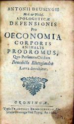 Apologeticae Defensionis Pro Oeconomia Corporis Animalis Prodromus...