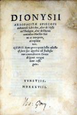 Libri duo, alter de Mystica Theologia, alter de Diuinis nominibus