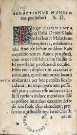 פרוש רבי דויד קמחי על עמוס הנביא Commentarium in Amos prophetam