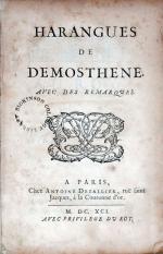 Harangues de Demosthene. Avec Des Remarques