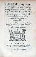 Edict du Roy, donné à Fotainebleau au mois d'Auril, 1554...