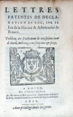 Lettres Patentes De Declaration Dv Roy, Svr Le fait de la Marine...