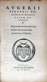 Liber De Somniis. Hippocratis de Insomniis Liber...