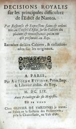Decisions Royales sur les principales difficultez del'Edict de Nantes...