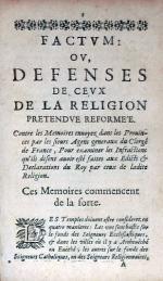 Factvm: Ov, Defenses De Cevx De La Religion Pretendve Reformée...