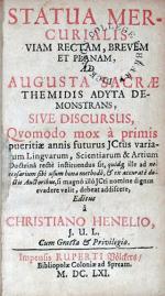 Statua Mercurialis Viam Rectam, Brevem Et Planam, Ad Augusta Sacrae...