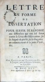 Lettre En Forme De Dissertation Pour Servir De Réponse aux difficultez...
