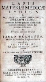 Lapis Materiae Medicae Lydius Seu Accuratum Medicamentorum Simplicium Examen