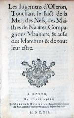 Les Iugemens d'Olleron, Touchant le faict de la Mer, des Nefs...