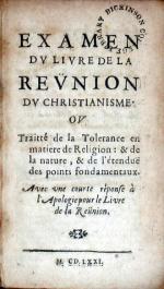 Examen Dv Livre De La Revnion Dv Christianisme. Ov Traitté...