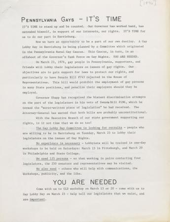 Gay Lobby Day Committee Recruitment Flyers - 1976